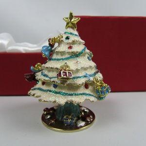 Christmas Tree Trinket Box in Satin Lined Gift Box